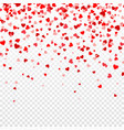 valentines day background with falling red hearts vector image vector image