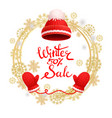 winter 50 percent sale poster warm red hat gloves vector image vector image