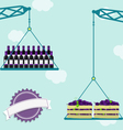 Crane with grapes and wine vector image