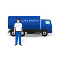 delivery employee in uniform and company truck on vector image