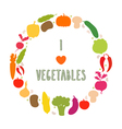 I love vegetables frame Healthy food icons vector image
