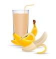 set of banana juice and two fresh bananas isolated vector image