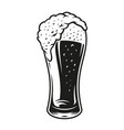 a black and white a glass beer vector image vector image
