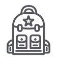 backpack line icon camping and travel bag sign vector image vector image