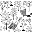 Black and white endless pattern with doodle birds vector image vector image