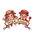 Brazilian Festa Junina Party girl and boy with vector image vector image