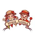 Brazilian Festa Junina Party girl and boy with vector image