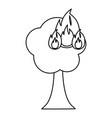 burning tree cartoon vector image vector image