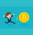businessman running are happy at the bitcoin vector image vector image