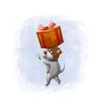 cartoon cute dog get gift box vector image vector image