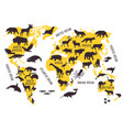 cartoon world map with animals silhouettes vector image vector image