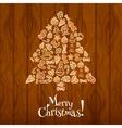 Christmas tree greeting card design vector image