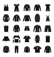 clothes icons set in silhouette style vector image