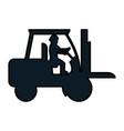 color pictogram laborer with forklift equipment vector image