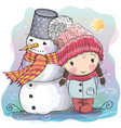cute girl and snowman vector image vector image