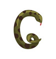 decorative letter g made of green snake with black vector image