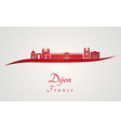 Dijon skyline in red vector image vector image