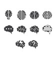 flat black brain icon set vector image vector image