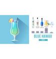 Flat style cocktail blue hawaii menu design