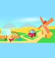 gardening horizontal banner cartoon style vector image