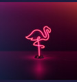 glowing neon effect sign with pink flamingo night vector image vector image