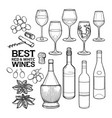 graphic wine glasses bottles and other delicious vector image