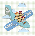 group schoolchildren fly in an airplane vector image