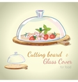 Hand-drawn cutting board and glass cover vector image