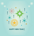 happy new year stars ornaments set on blue vector image vector image