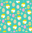 hatching easter chicks and eggs pattern vector image