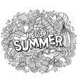 hello summer hand drawn cartoon doodles vector image