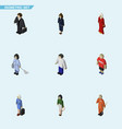 isometric people set of housemaid investor vector image vector image