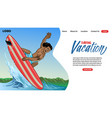 landing page design surfing tour concept vector image vector image