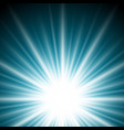 lighting effect sunburst or sunbeams on dark blue vector image vector image