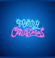 merry christmas blue pink neon sign vector image vector image