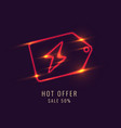 neon shortcut icon for discounts on a dark vector image