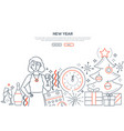 new year - modern line design style web banner vector image