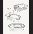 opened and closed food tin cans sketch vector image vector image