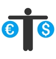Person Compares Currency Flat Icon vector image vector image