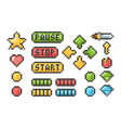 pixel buttons retro video games trophy pictogram vector image