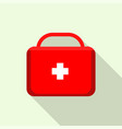 red first aid kit icon flat style vector image vector image