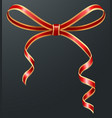 red ribbon bow present or surprise gift decor vector image