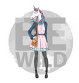 retro hipster fashion fantasy animal unicorn vector image