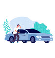 scratched car man worried auto needs repair vector image vector image