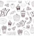 Seamless cartoon pattern with fast food Cartoon vector image vector image