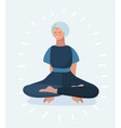 senior woman meditating and exercising vector image vector image