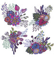 set four beautiful fantasy bouquets with hand vector image