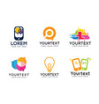 set modern technology logos vector image vector image