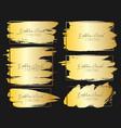 set of golden brush stroke frame vector image vector image