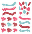set of isolated colored hearts balloons ribbons vector image vector image